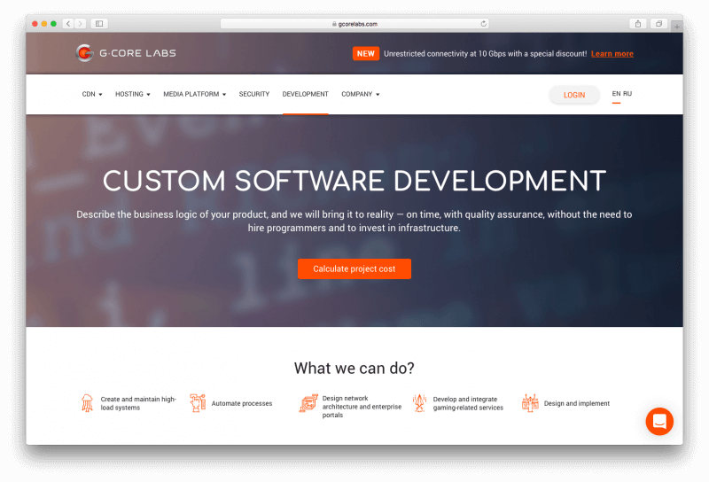 New service: Custom software development